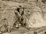 Steam drill in Horseshoe Quarry